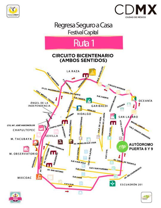 Circuito Bicentenario Expreso : Horarios corona capital