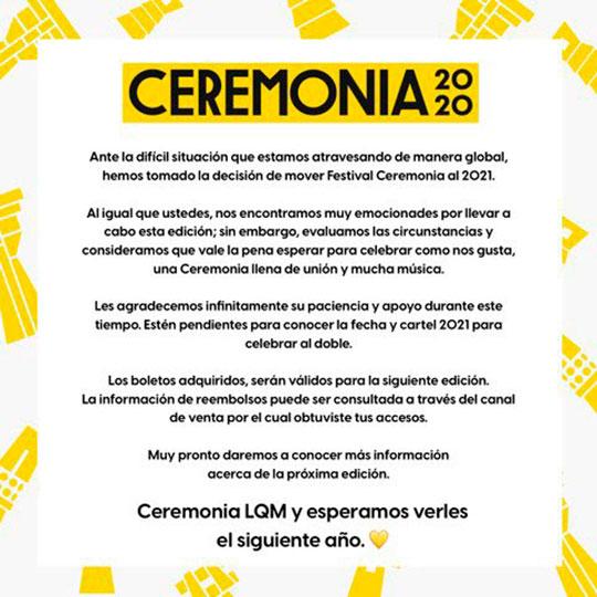 ceremonia 2020 cancelado